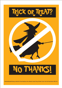 Trick or Treat poster to indicate you don't want to be bothered by Trick or Treaters
