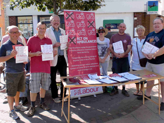Steve in Cromer with campaigners opposing ambulance cuts